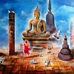 buddha and monk child with bird , 60 x 33 inch, arjun das,buddha paintings,paintings for living room,religious paintings,paintings for office,canvas,acrylic color,60x33inch,GAL01124821