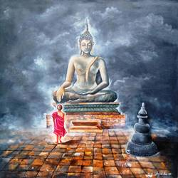 buddha in peace and monk child, 36 x 36 inch, arjun das,buddha paintings,paintings for living room,religious paintings,paintings for office,canvas,acrylic color,36x36inch,religious,peace,meditation,meditating,gautam,goutam,buddha,temple,monk,grey,giving blessing,GAL01124822