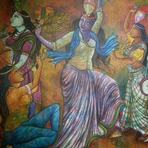festival dance, 50 x 48 inch, manoj  p p,figurative paintings,paintings for living room,canvas,acrylic color,50x48inch,GAL07484823