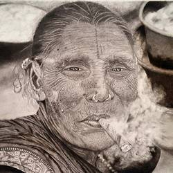 old smoking lady , 13 x 9 inch, danny soni,photorealism drawings,paintings for living room,photorealism drawings,thick paper,graphite pencil,13x9inch,GAL017054825