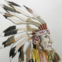 the wise indian chief , 8 x 12 inch, rohan  moorthy,portrait drawings,paintings for living room,drawing paper,pencil color,8x12inch,GAL016884831