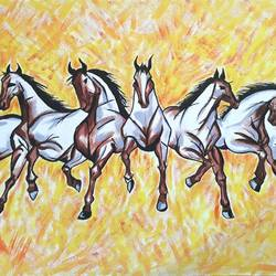 power, success and significance of 7 horse, 30 x 18 inch, sapna agrawal,conceptual paintings,paintings for office,horse paintings,canvas,acrylic color,30x18inch,GAL017234841