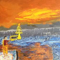 ganga aarti, 16 x 12 inch, krishnan sitaraman,religious paintings,paintings for living room,canvas,acrylic color,16x12inch,GAL017254842
