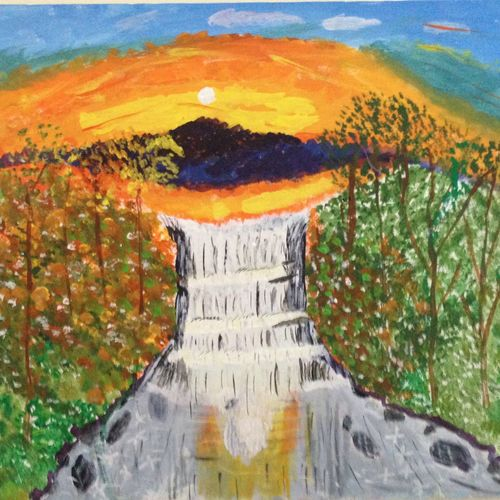 water falls, 30 x 20 inch, krishnan sitaraman,landscape paintings,paintings for living room,canvas,acrylic color,30x20inch,GAL017254844