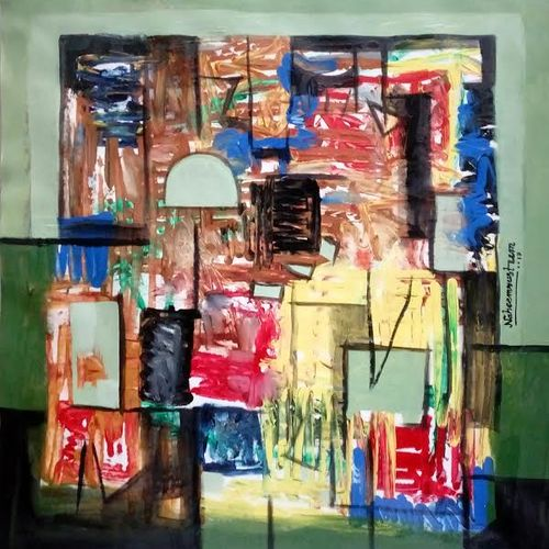 untitle, 22 x 23 inch, naheem rustum,abstract paintings,paintings for office,handmade paper,,22x23inch,GAL03444866