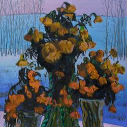 frozen flowers, 19 x 22 inch, moesey li,flower paintings,paintings for living room,canvas,oil paint,19x22inch,GAL07184869