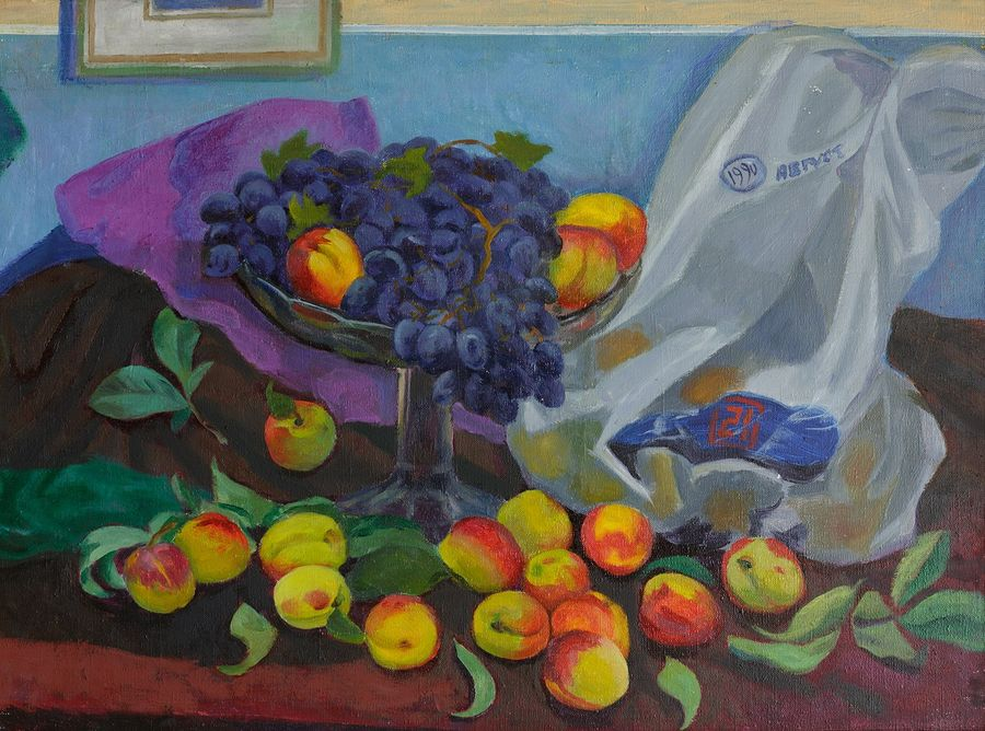 grapes and peaches, 24 x 16 inch, moesey li,still life paintings,paintings for dining room,canvas,oil paint,24x16inch,GAL07184870