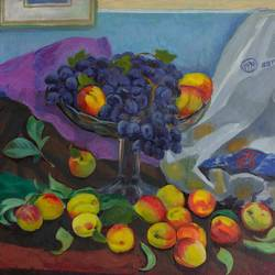 grapes and peaches , 24 x 16 inch, moesey li,still life paintings,paintings for dining room,canvas,oil paint,24x16inch,GAL07184870
