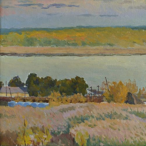 volga in autumn, 20 x 15 inch, moesey li,landscape paintings,paintings for living room,canvas,oil paint,20x15inch,GAL07184874