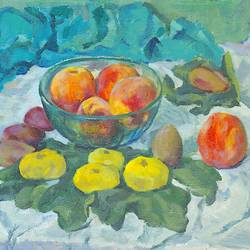 peaches with figs, 23 x 15 inch, moesey li,still life paintings,paintings for living room,canvas,oil paint,23x15inch,GAL07184875