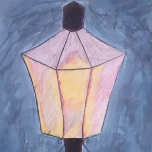 street light, 9 x 11 inch, mrs. kalyani lahon,street art,paintings for office,modern art paintings,drawing paper,pencil color,9x11inch,GAL06574884
