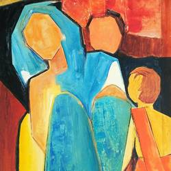 mother and child - 5, 8 x 14 inch, a.b.  kaser,abstract paintings,paintings for living room,paper,mixed media,8x14inch,GAL06364885