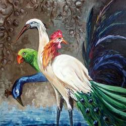 birds, 24 x 36 inch, saber khan,figurative paintings,paintings for dining room,wildlife paintings,animal paintings,canvas,acrylic color,24x36inch,GAL017454886
