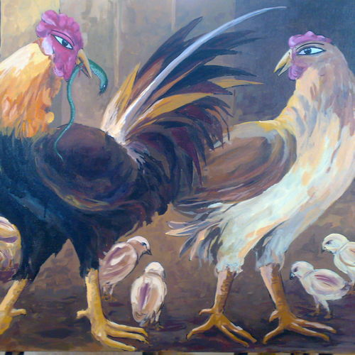 rooster, 24 x 36 inch, saber khan,figurative paintings,paintings for living room,wildlife paintings,animal paintings,canvas,acrylic color,24x36inch,GAL017454887