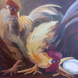 rooster-1, 36 x 24 inch, saber khan,figurative paintings,paintings for dining room,animal paintings,canvas,acrylic color,36x24inch,GAL017454888