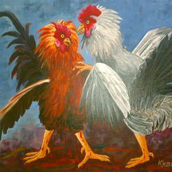 rooster-2, 36 x 24 inch, saber khan,figurative paintings,paintings for dining room,animal paintings,canvas,acrylic color,36x24inch,GAL017454889