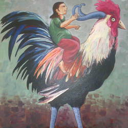 rooster-4, 24 x 36 inch, saber khan,figurative paintings,paintings for living room,canvas,acrylic color,24x36inch,GAL017454891