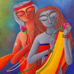 gift of love 2, 16 x 20 inch, debaditya sarkar,modern art paintings,paintings for bedroom,canvas,acrylic color,16x20inch,GAL03964893