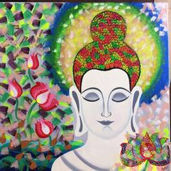 buddha, 24 x 24 inch, amita dand,buddha paintings,paintings for living room,paintings,canvas board,mixed media,24x24inch,religious,peace,meditation,meditating,gautam,goutam,buddha,flowers,lotus,face,smiling,praying,GAL014674894