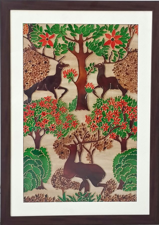 deer at play, 17 x 24 inch, shruti deora,wildlife paintings,paintings for living room,acrylic glass,coffee,17x24inch,GAL017514897
