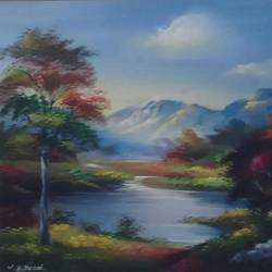 nature-lake, 18 x 24 inch, vaishali desai,nature paintings,paintings for living room,canvas,acrylic color,18x24inch,GAL01649Nature,environment,Beauty,scenery,greenery