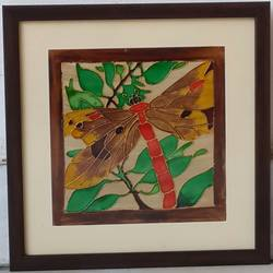 dragonfly-1, 10 x 10 inch, shruti deora,contemporary paintings,paintings for living room,thick paper,coffee,10x10inch,GAL017514900