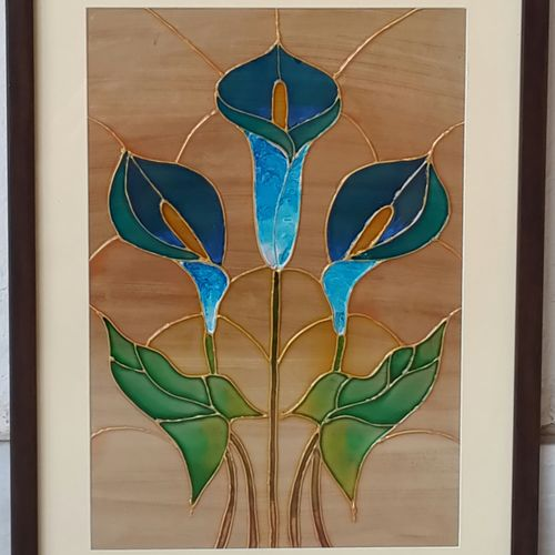the royal lillies, 11 x 15 inch, shruti deora,contemporary paintings,paintings for living room,paintings,ohp plastic sheets,coffee,11x15inch,GAL017514903