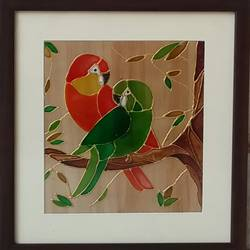the parakeets, 10 x 10 inch, shruti deora,contemporary paintings,paintings for living room,animal paintings,ohp plastic sheets,coffee,glass,10x10inch,GAL017514905