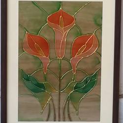 the orange lillies, 11 x 15 inch, shruti deora,contemporary paintings,paintings for living room,ohp plastic sheets,coffee,glass,11x15inch,GAL017514906