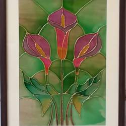 the pink lillies, 11 x 15 inch, shruti deora,contemporary paintings,paintings for living room,flower paintings,ohp plastic sheets,coffee,glass,11x15inch,GAL017514907