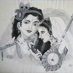 meerakrishna, 33 x 23 inch, harshada khatu,religious paintings,paintings for living room,radha krishna paintings,thick paper,poster color,33x23inch,GAL017554912