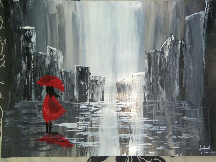 women in rain, 11 x 17 inch, rahul  pratap,paintings for dining room,abstract paintings,figurative paintings,ivory sheet,acrylic color,11x17inch,GAL0182492