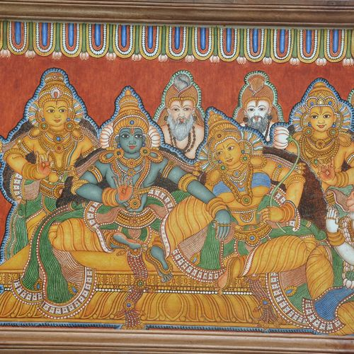 sreerama pattabishekam, 58 x 26 inch, sarans guruvayoor,abstract paintings,paintings for living room,canvas,acrylic color,58x26inch,GAL013114921