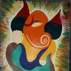 abstract ganesha ainting, 10 x 12 inch, manil damle,paintings for living room,ganesha paintings,canvas,acrylic color,10x12inch,GAL017714929,vinayak,ekadanta,ganpati,lambodar,peace,devotion,religious,lord ganesha,lordganpati,ganpati,ganesha,lord ganesh,elephant god,religious,ganpati bappa morya,mouse,mushakraj,ladoo,sweets,abstract ganpati
