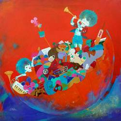 the treasure of childhood, 30 x 30 inch, shiv kumar soni,figurative paintings,paintings for office,canvas,acrylic color,30x30inch,GAL030493