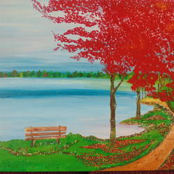 beauty in blue and red, 24 x 18 inch, suchismita sahoo,landscape paintings,paintings for bedroom,canvas board,acrylic color,24x18inch,GAL017564938