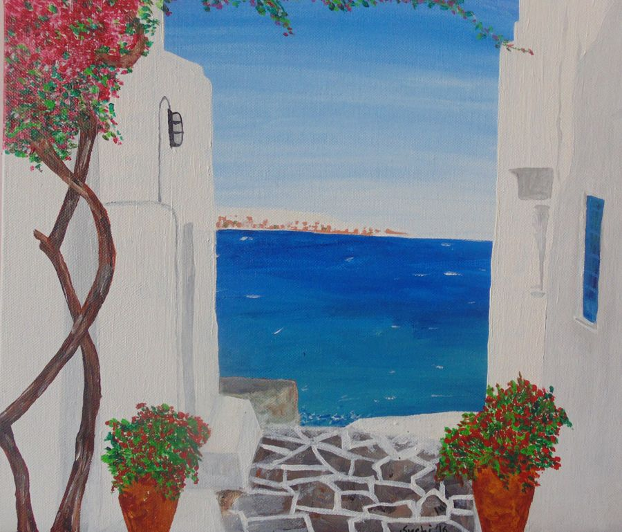 my mykonos, 12 x 10 inch, suchismita sahoo,landscape paintings,paintings for bedroom,canvas,acrylic color,12x10inch,GAL017564941