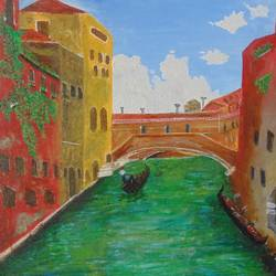 my venice, 12 x 10 inch, suchismita sahoo,landscape paintings,paintings for dining room,canvas,acrylic color,12x10inch,GAL017564942