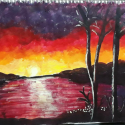 sunset acrylic, 17 x 11 inch, adiba sait,nature paintings,paintings for living room,paintings,landscape paintings,still life paintings,photorealism,paintings for dining room,paintings for bedroom,paintings for office,paintings for bathroom,paintings for kids room,paintings for hotel,paintings for kitchen,canvas,acrylic color,17x11inch,GAL017804944Nature,environment,Beauty,scenery,greenery