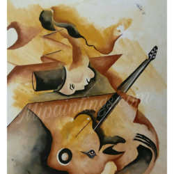 guitar, 50 x 70 inch, sonu singh,abstract paintings,paintings for office,paper,watercolor,50x70inch,GAL017784954