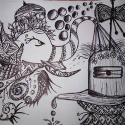 god, 6 x 8 inch, ananya pattnaik,abstract expressionist drawings,paintings for living room,paper,ball point pen,6x8inch,GAL017884960