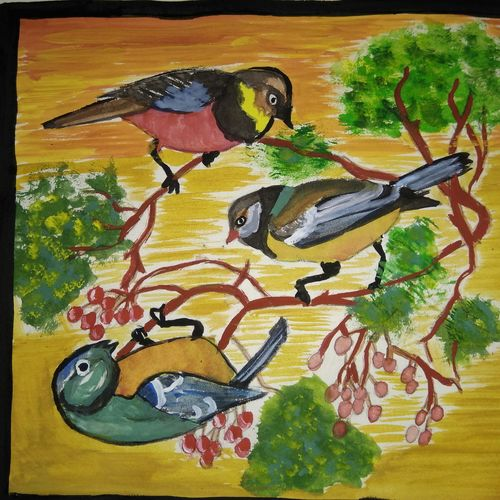 birds on cherry tree, 11 x 11 inch, janani anjan,nature paintings,paintings for living room,thick paper,poster color,11x11inch,GAL017904968Nature,environment,Beauty,scenery,greenery