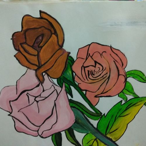 three roses, 14 x 11 inch, janani anjan,flower paintings,paintings for living room,thick paper,watercolor,14x11inch,GAL017904970