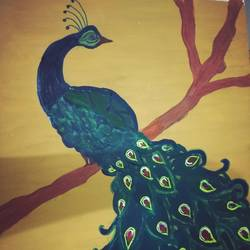 peacock with beautiful red eyed tail, 11 x 14 inch, janani anjan,figurative paintings,paintings for living room,thick paper,acrylic color,11x14inch,GAL017904971