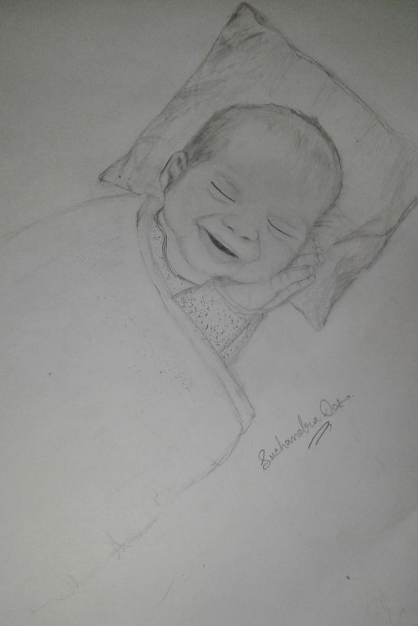 sleeping baby, 8 x 12 inch, suchandra das,conceptual paintings,paintings for bedroom,drawing paper,pencil color,8x12inch,GAL016724972