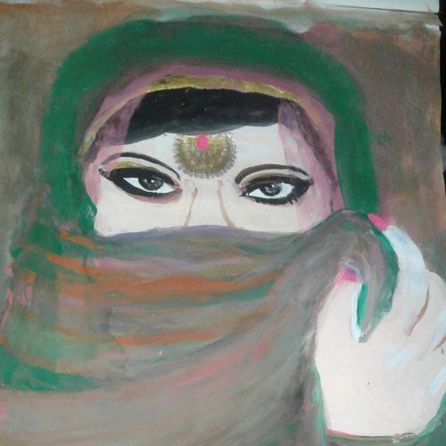 hidden girl face, 8 x 12 inch, suchandra das,religious paintings,paintings for living room,drawing paper,watercolor,8x12inch,GAL016724975