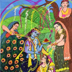 holi, 14 x 22 inch, ritu  maheshwari ,minimalist paintings,paintings for living room,radha krishna paintings,canvas,watercolor,14x22inch,GAL017914979,radhakrishna,love,pece,lordkrishna,lordradha,peace,radha,krishna,devotion,couple,flute,music