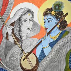 meera&krishna, 22 x 14 inch, ritu  maheshwari ,minimalist paintings,paintings for bedroom,radha krishna paintings,canvas,watercolor,22x14inch,GAL017914980,radhakrishna,love,pece,lordkrishna,lordradha,peace,radha,krishna,devotion,couple,flute,music