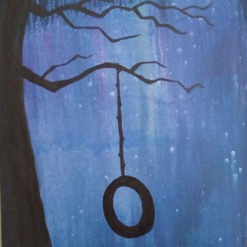 the swing , 14 x 20 inch, jyothi  mc,abstract paintings,paintings for dining room,canvas,acrylic color,14x20inch,GAL017964988