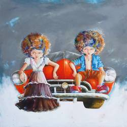 puppy and chicky on the drive, 30 x 30 inch, shiv kumar soni,realism paintings,paintings for living room,canvas,acrylic color,30x30inch,GAL030499
